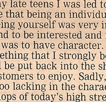 Paul Smith On The Threat To The High Street (The Guardian 1988)