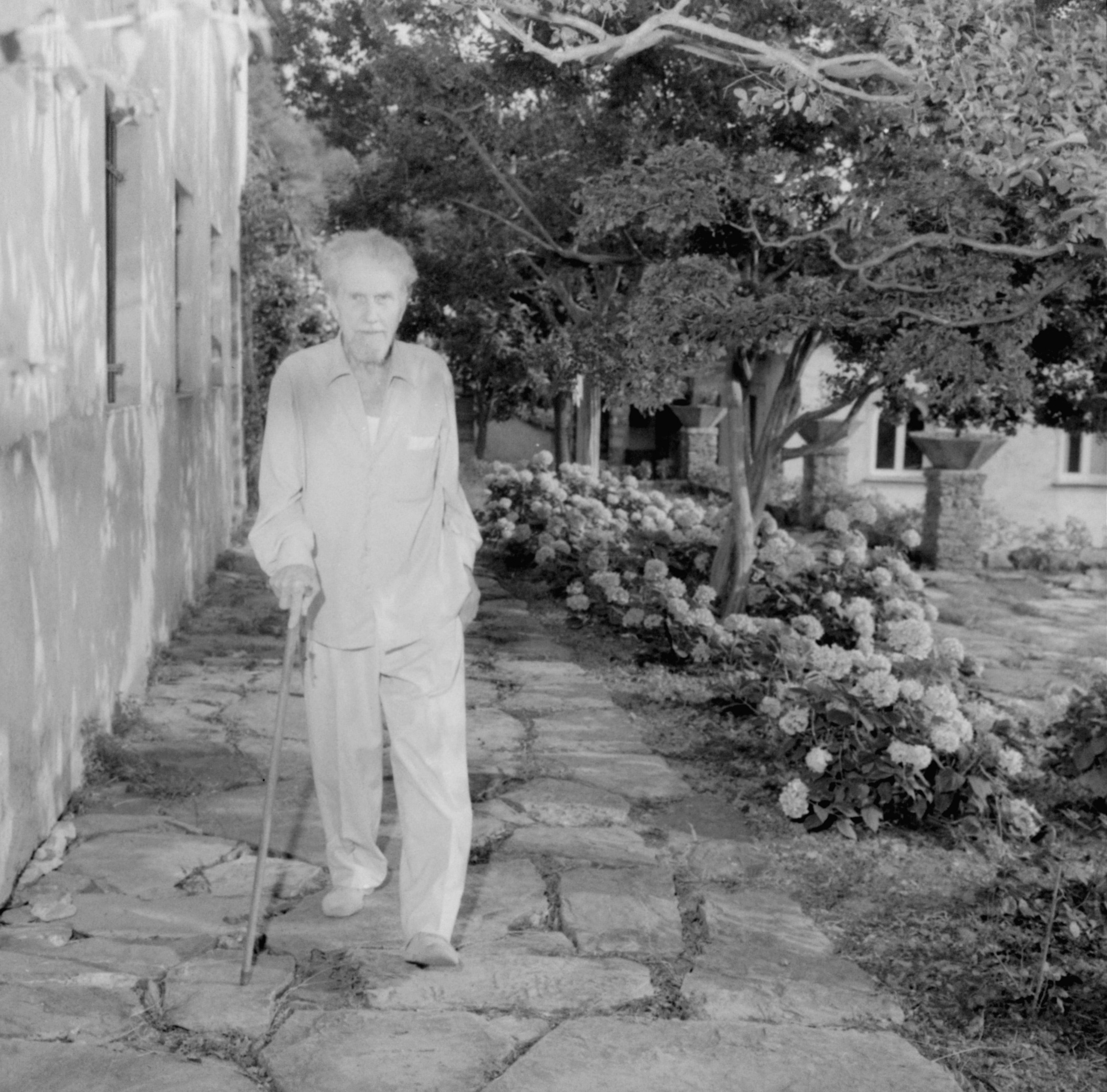 Ezra Pound, American poet and composer, pictured in the garden of his villa at the Italian riviera resort of Rapallo. July 30, 1963