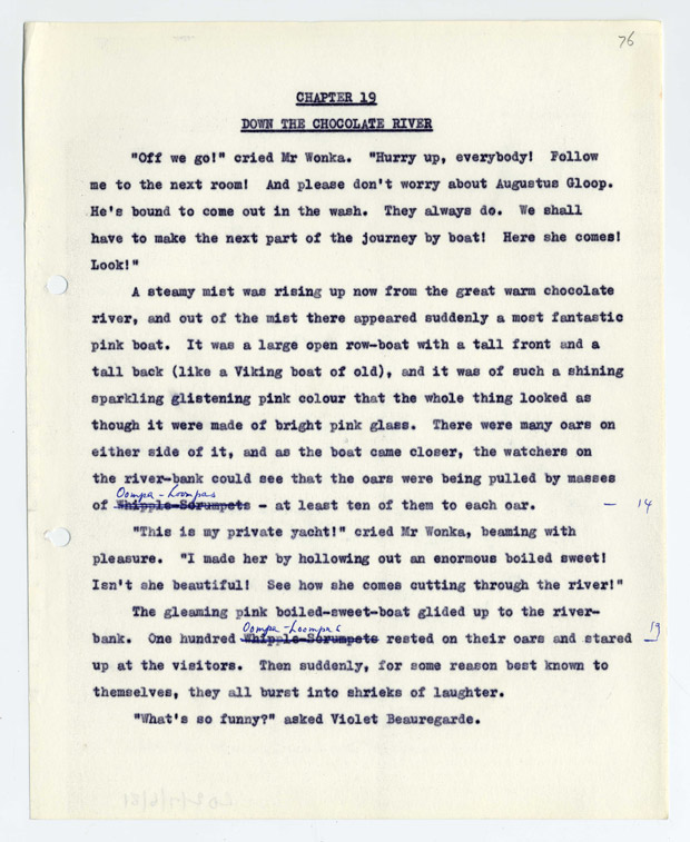 A page of the Charlie and the Chocolate Factory manuscript showing how, at the last minute, Roald Dahl changed the Whipple-Scrumpets to Oompa-Loompas. This is the last draft before publication and was a last-minute change.
