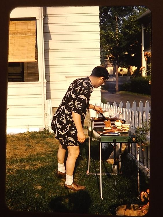 1950s 1960s 1970s snapshot cooking summer picnic