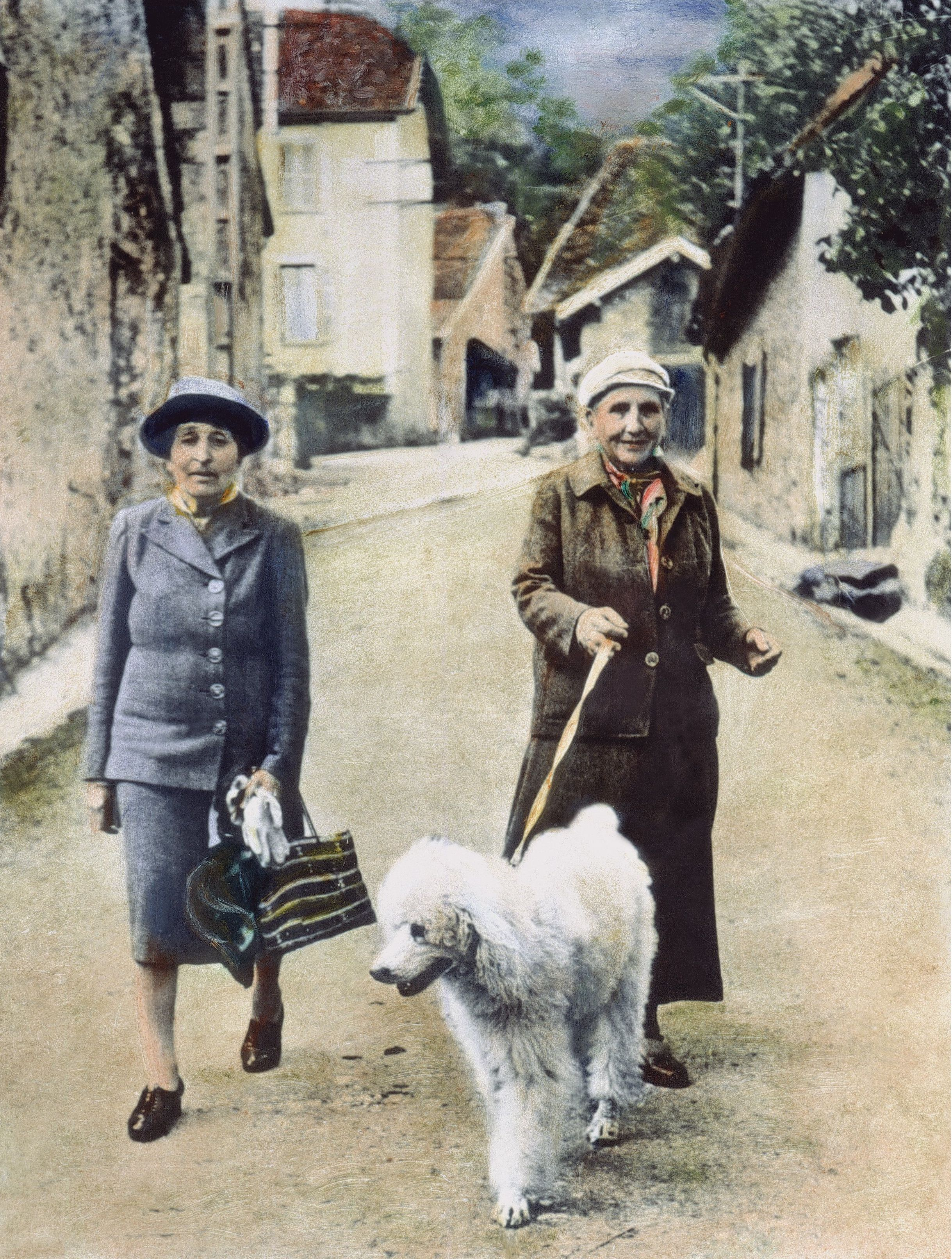 Stein And Toklas, 1944. American Writer Gertrude Stein (1874-1946) In Southeastern France With Her Companion, Alice B. Toklas (Left), September 1944. Oil Over A Photograph. 1944