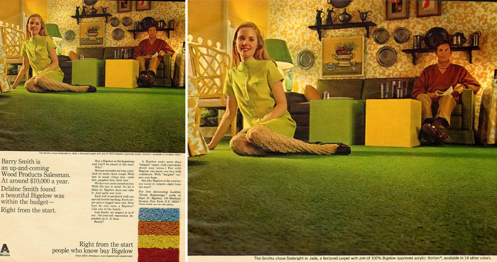 Wonder Woman Home Decor Selling Harvest Gold Shag Carpet Ads From The 1960s 1970s