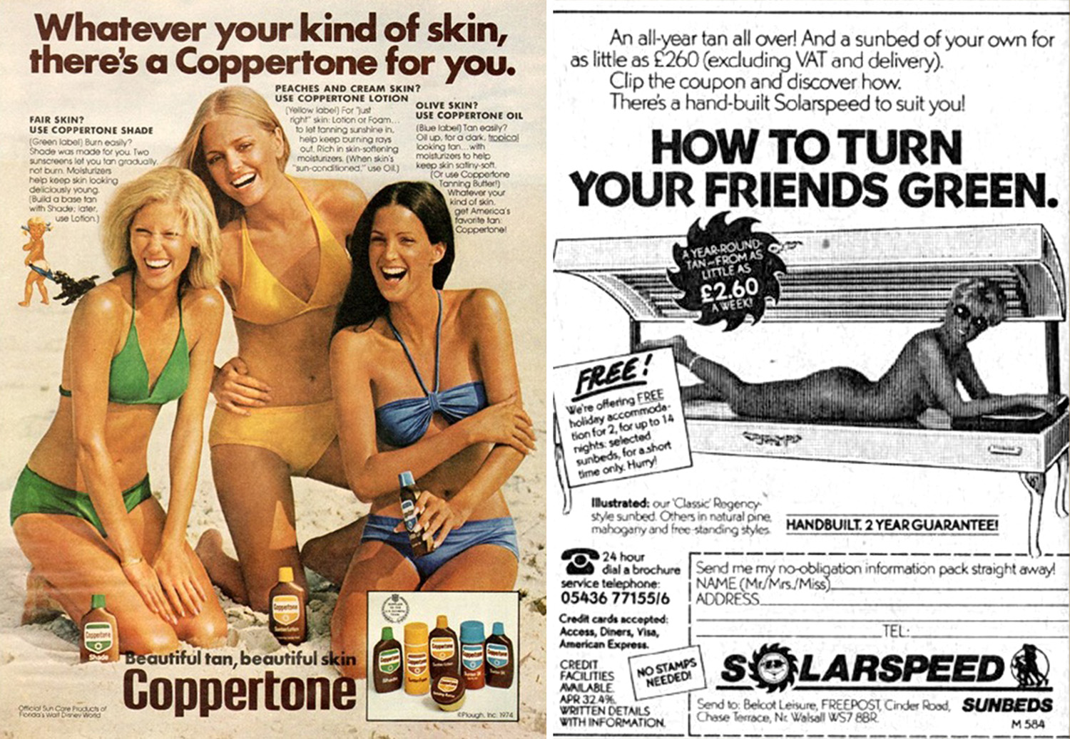 1976 coppertone and tanning bed advert