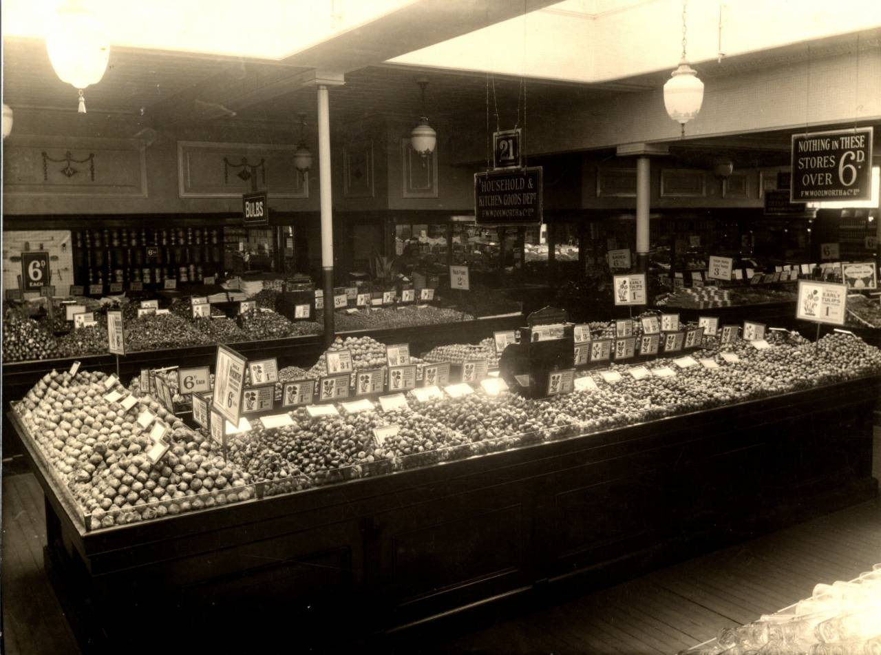 A huge display of Spring bulbs at the Woolworths store in Kilburn c.1932