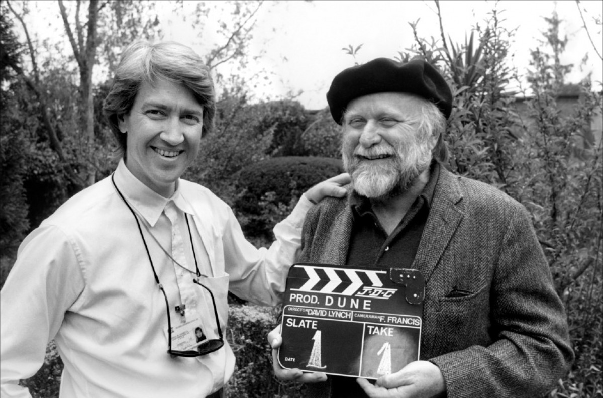 David Lynch and Frank Herbert on the set of Dune, 1984