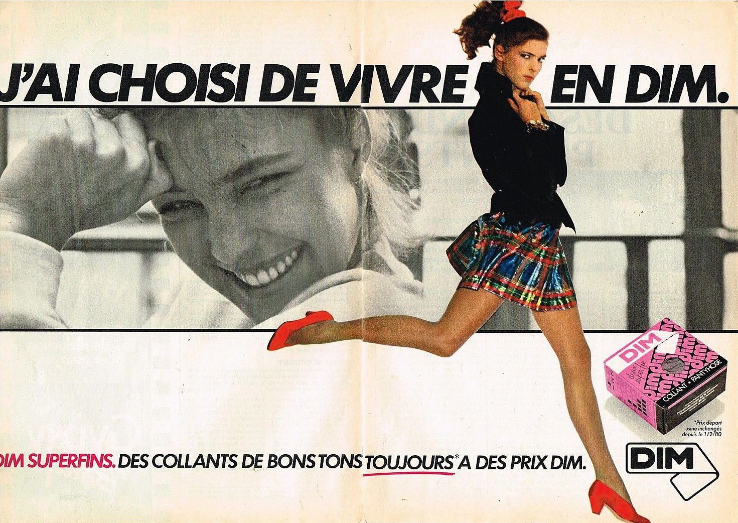 Publicité Advertising 1980 Les bas et Collants DIM Superfins