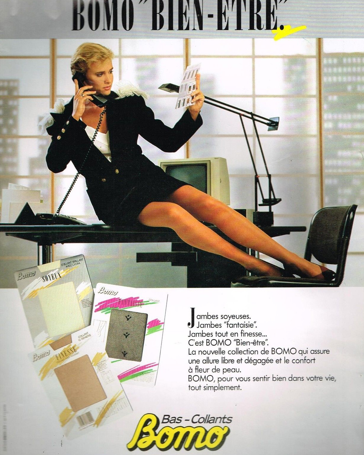 Publicité Advertising 1987 Les Bas et Collants Bomo