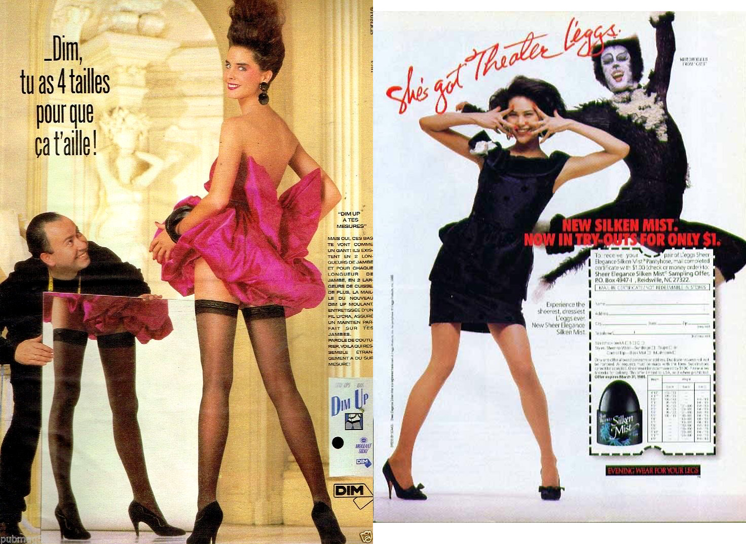 Publicité advertising 1987 Les Bas et Collants Dim Up