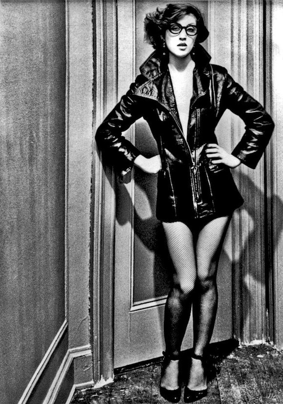 Visco in leather coat and Charles Jourdan shoes, The Park Royal Hotel, NYC, 1976