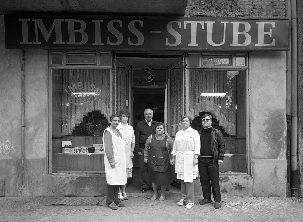 Galow's snack bar, Mr. and Mrs. Galow in the middle, their son on the right, No. 31, 1986