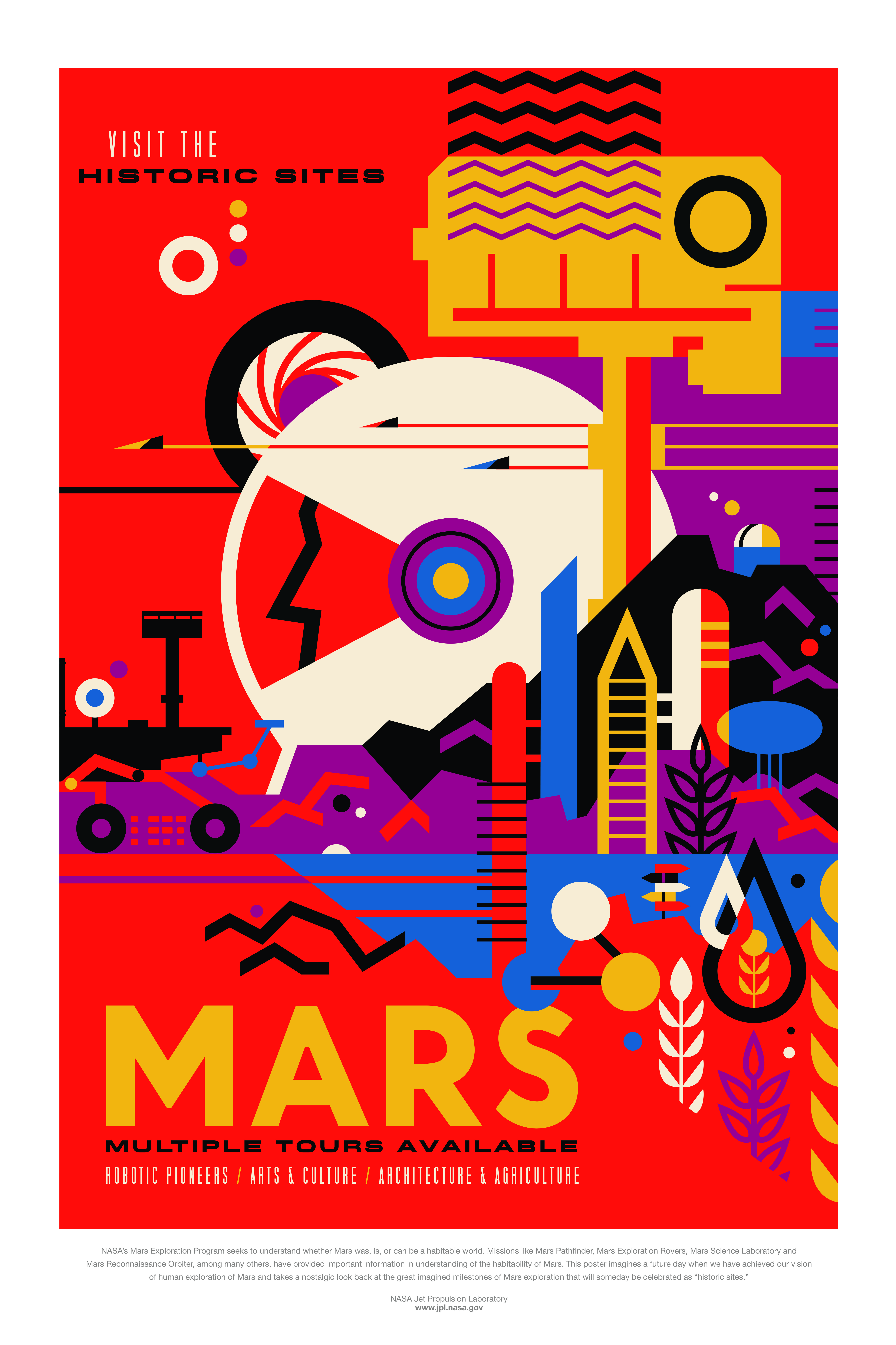 """NASA's Mars Exploration Program seeks to understand whether Mars was, is, or can be a habitable world. Mission like Mars Pathfinder, Mars Exploration Rovers, Mars Science Laboratory and Mars Reconnaissance Orbiter, among many others, have provided important information in understanding of the habitability of Mars. This poster imagines a future day when we have achieved our vision of human exploration of Mars and takes a nostalgic look back at the great imagined milestones of Mars exploration that will someday be celebrated as """"historic sites."""""""