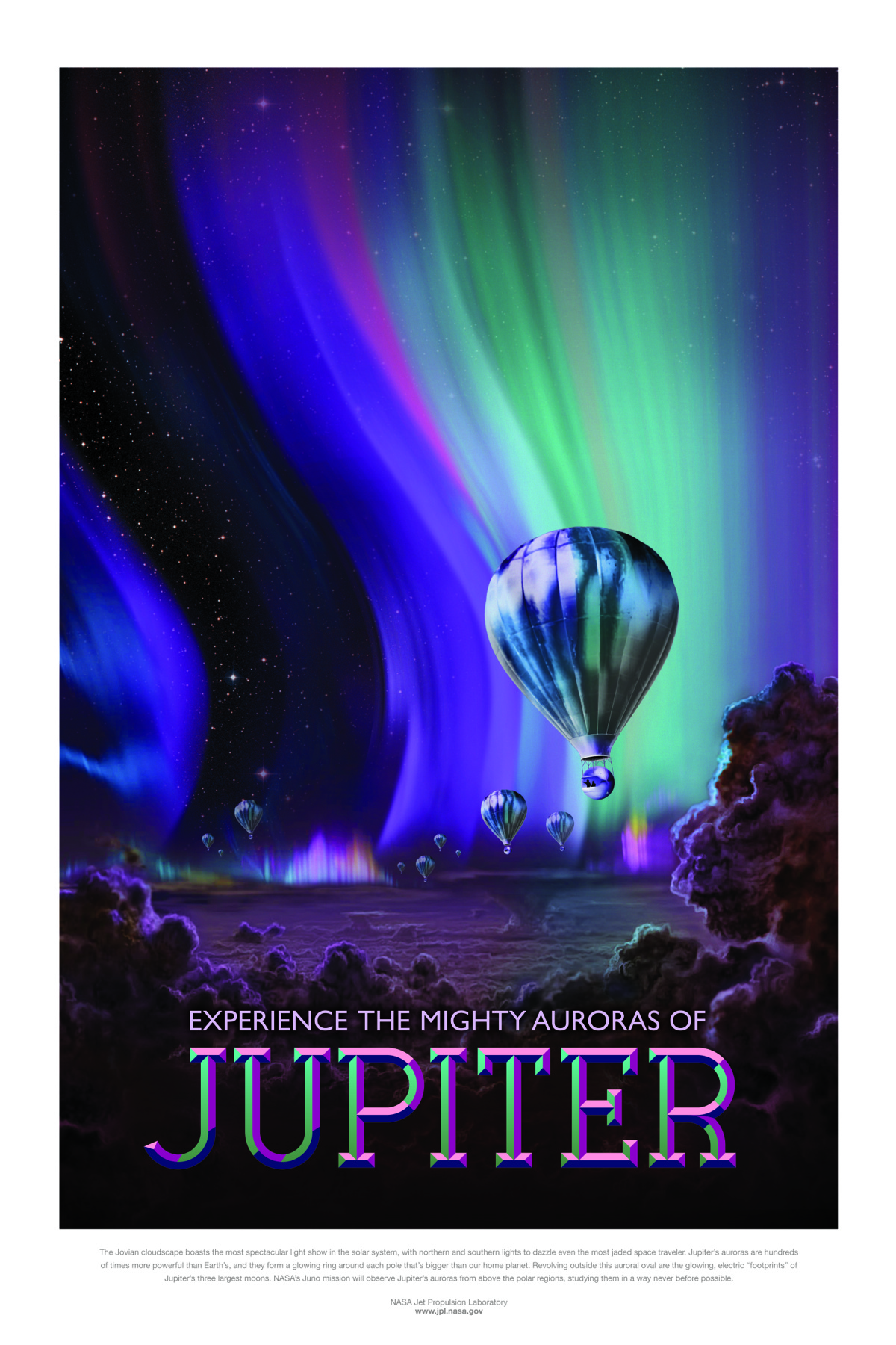 """The Jovian cloudscape boasts the most spectacular light show in the solar system, with northern and southern lights to dazzle even the most jaded space traveler. Jupiter's auroras are hundreds of times more powerful than Earth's, and they form a glowing ring around each pole that's bigger than our home planet. Revolving outside this auroral oval are the glowing, electric """"footprints"""" of Jupiter's three largest moons. NASA's Juno mission will observe Jupiter's auroras from above the polar regions, studying them in a way never before possible."""