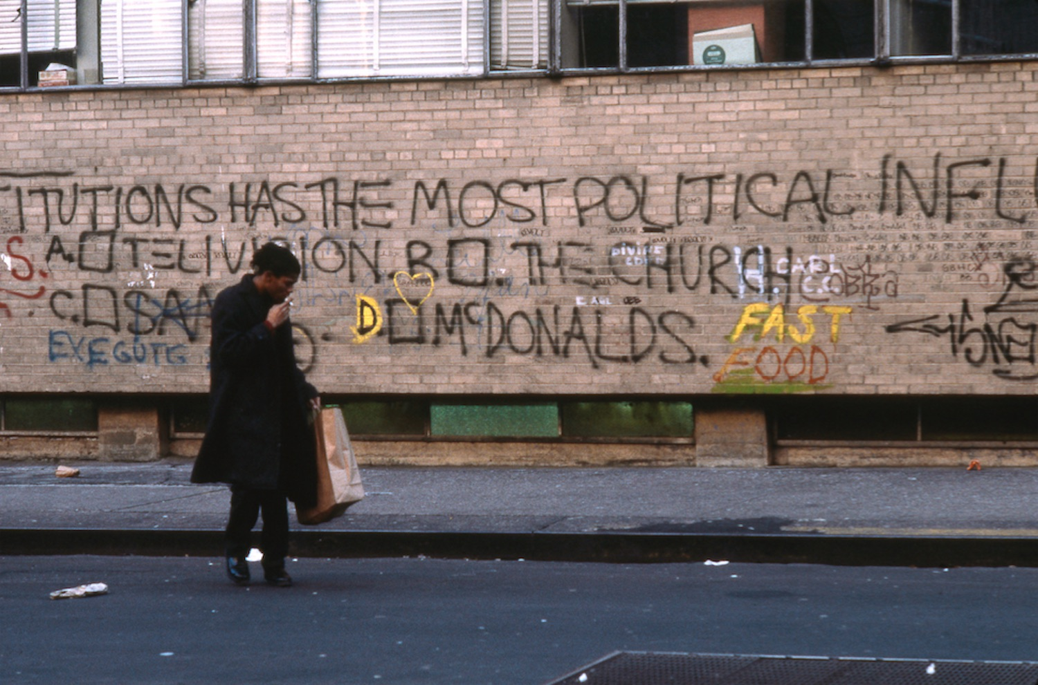 THESE INSTITUTIONS HAS THE MOST POLITICAL INFLUENCE A.TELEVISION B. THE CHURCH C. SAMO D. MC DONALDS', Downtown 81, Edo Bertoglio ©New York Beat Film