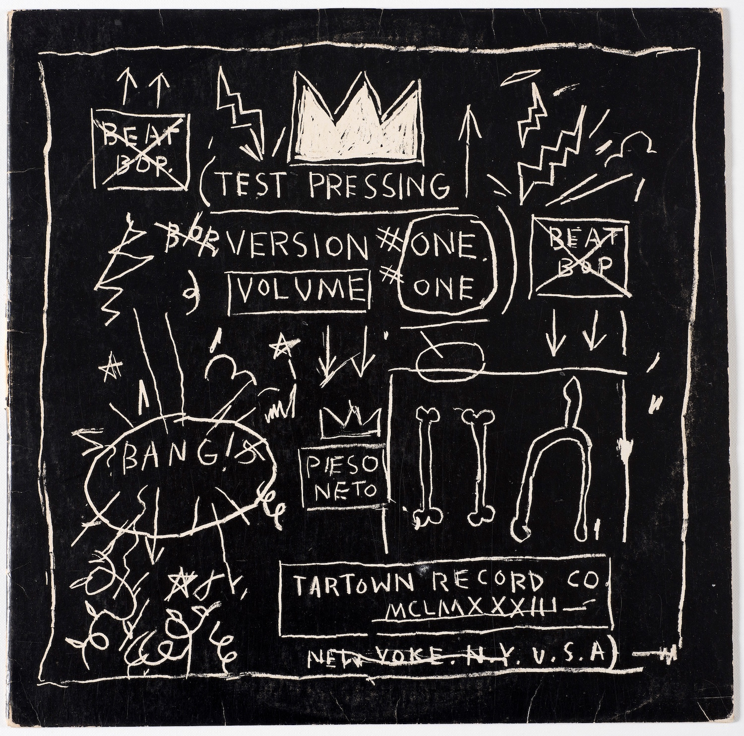 Rammellzee vs. K-Rob, produced and with cover artwork by Jean-Michel Basquiat, beat Bop record, 1983, Courtesy Jennifer Von Holstein