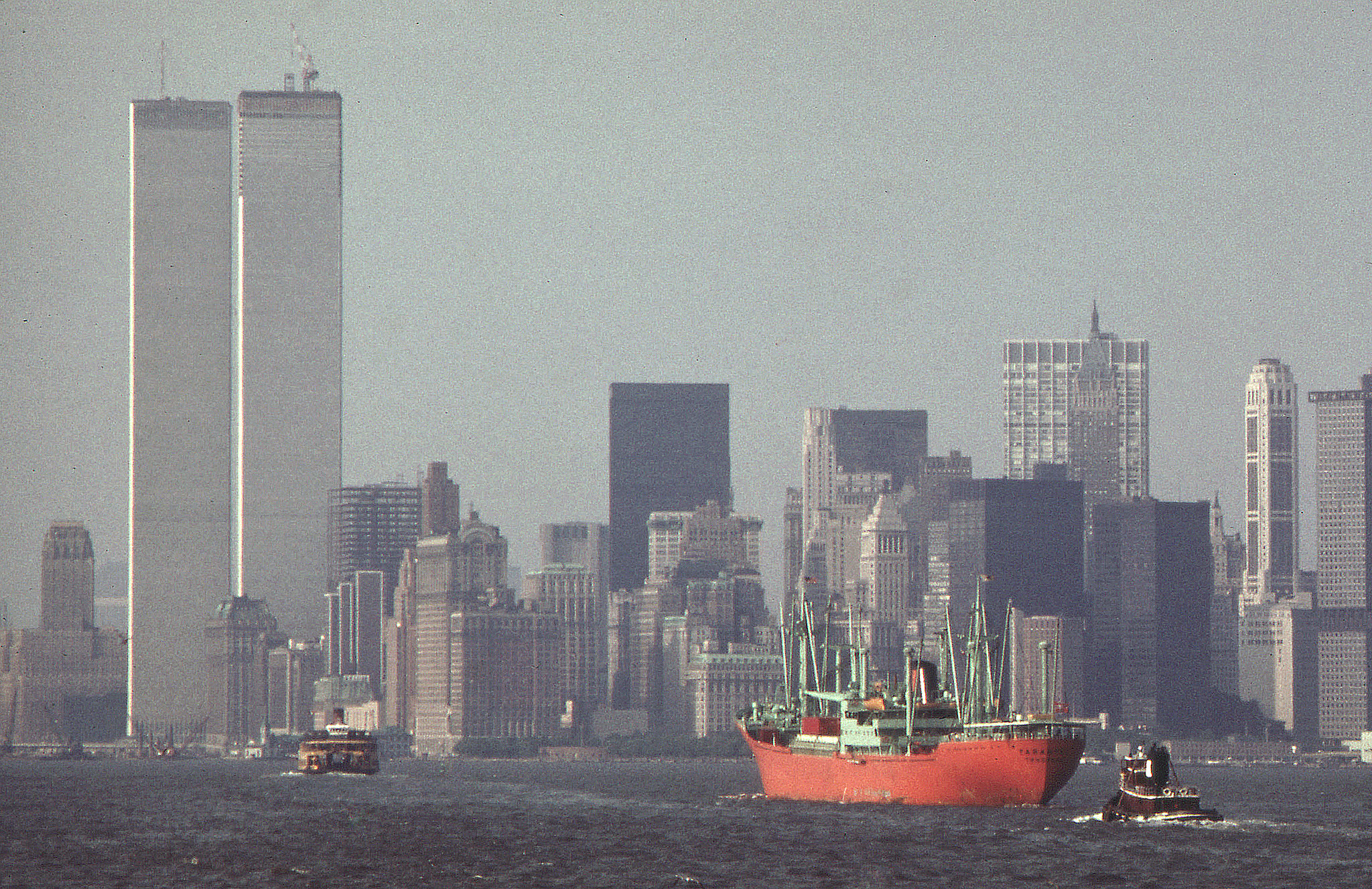 A foggy day on the harbor from the Staten Island Ferry looking toward Lower Manhattan. June 1974