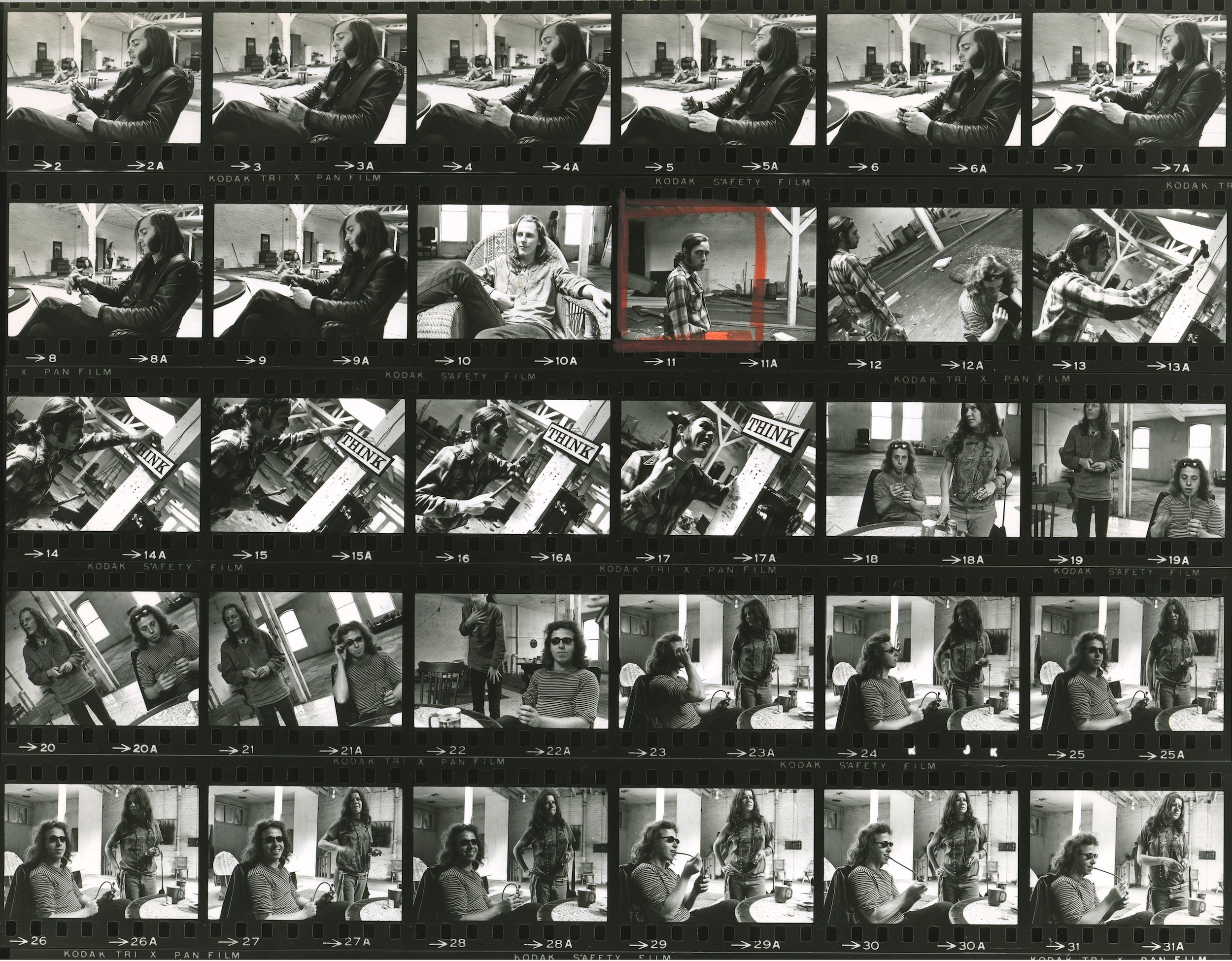 One of dozens of proof sheets of black-and-white photographs taken by the band's friend and resident photographer,Bob Seidemann.