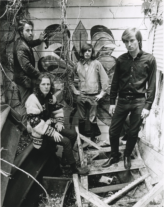 Big Brother and the Holding Company in the spring of 1966 behind the Old Spaghetti Factory, where drummer Dave Getz (far left) worked part time