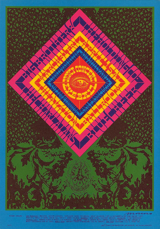 In March of 1967, the Charlatans shared a bill at the Avalon with Big Brother and the Holding Company and Blue Cheer. Poster by Victor Moscoso via ClassicPosters.com.