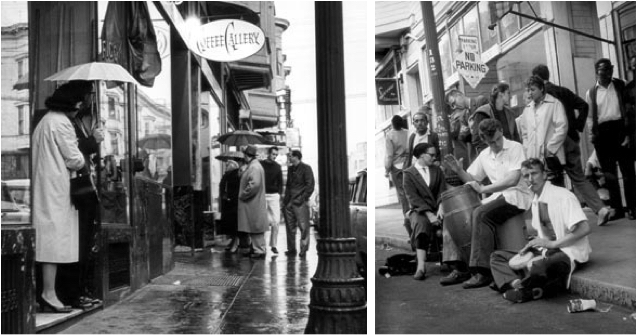 Charlatans co-founder Richard Olsen was lured to San Francisco in 1961 by the beatnik jazz scene in North Beach, seen here in 1959 (left) and 1961 (right). Photos by Jerry Stoll.