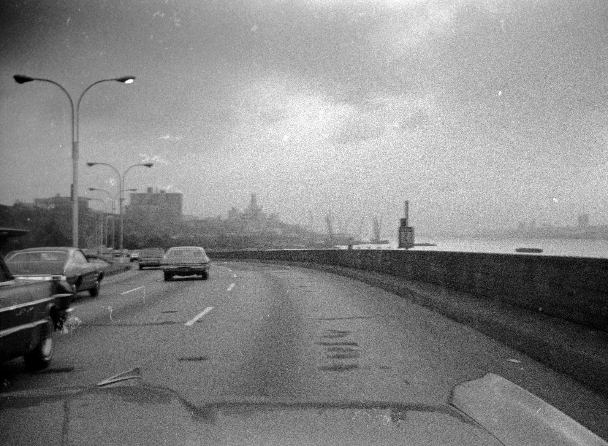 Cruising down the dilapidated 1970s Henry Hudson Parkway on the west side toward midtown Manhattan in my dad's 1965 Pontiac Bonneville Aug. 1975