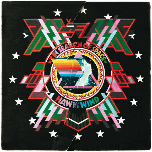 Diecut front cover design by Barney Bubbles, X In Search Of Space, Hawkwind, UA Records, 1971