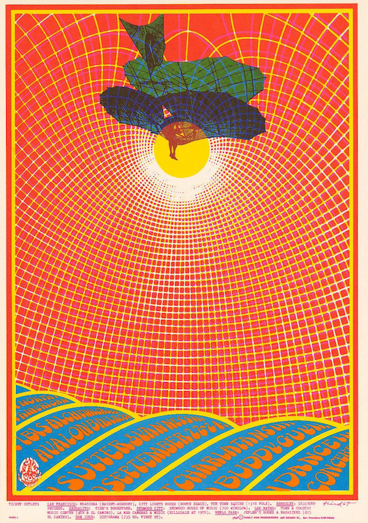 For this show at the Avalon in September of 1967, the Charlatans shared the bill with the great blues guitarist Buddy Guy. Poster by Robert Fried via ClassicPosters.com.