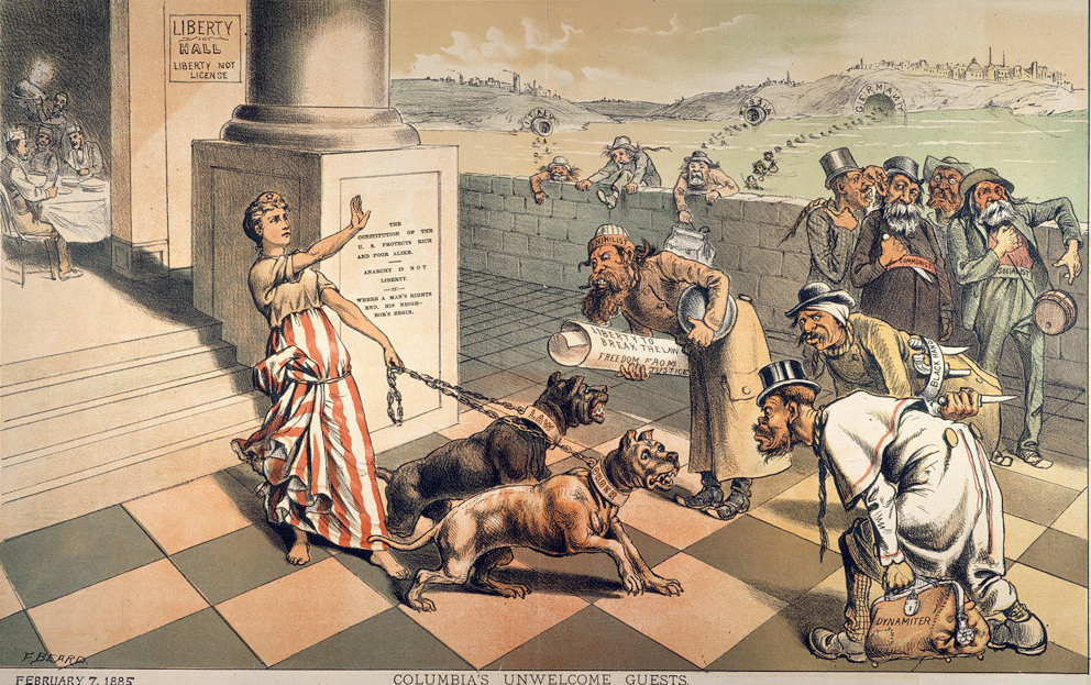 Frank Beard's 1885 cartoon 'Columbia's Unwelcome Guests'