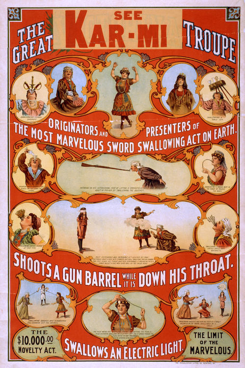 "Mike Ferguson used elements from a 1914 poster for the Great Kar-Mi Troupe in The Seed poster for the Charlatans. The phrase at bottom-right, ""The Limit of the Marvelous,"" would also make its way onto subsequent posters for the band."
