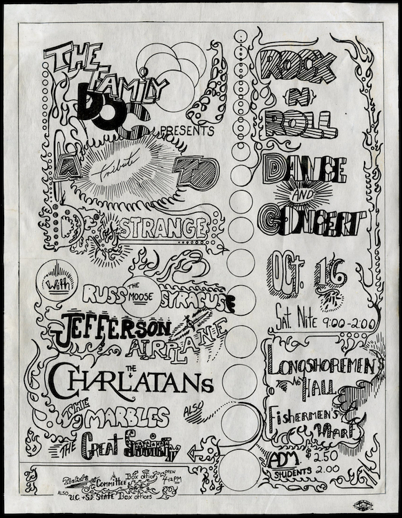 "In October of 1965, the Family Dog produced three shows at Longshoremen's Hall. Each was promoted as a ""tribute"" to various comic-book characters, and each featured the Charlatans on the bill. Via ClassicPosters.com."