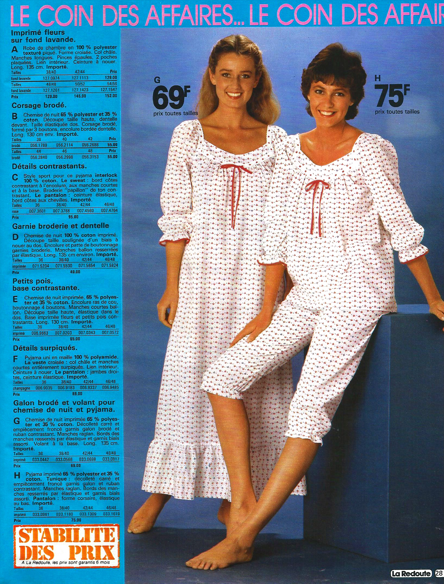 Frilly nightgowns to garfield pajamas 1980s women s sleepwear catalog pages - La redoute catalogues ...