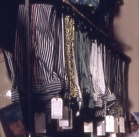 Leopard print jeans on the racks at Paradise Garage, 430 Kings Road, west London, summer 1971. From a photograph by David Parkinson.