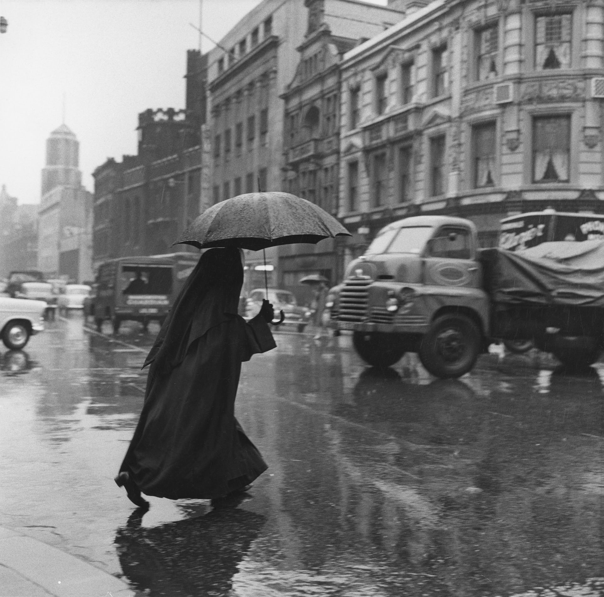Nun With a Brolly, Salford, undated
