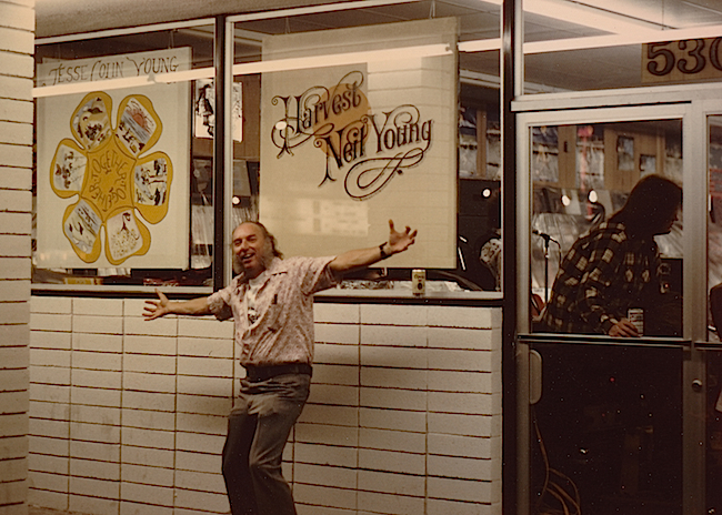 Russ Solomon at the Fresno, California, Tower Records in 1972. Using album art to market merchandise was always part of the Tower strategy. (Image courtesy Gravitas Ventures)