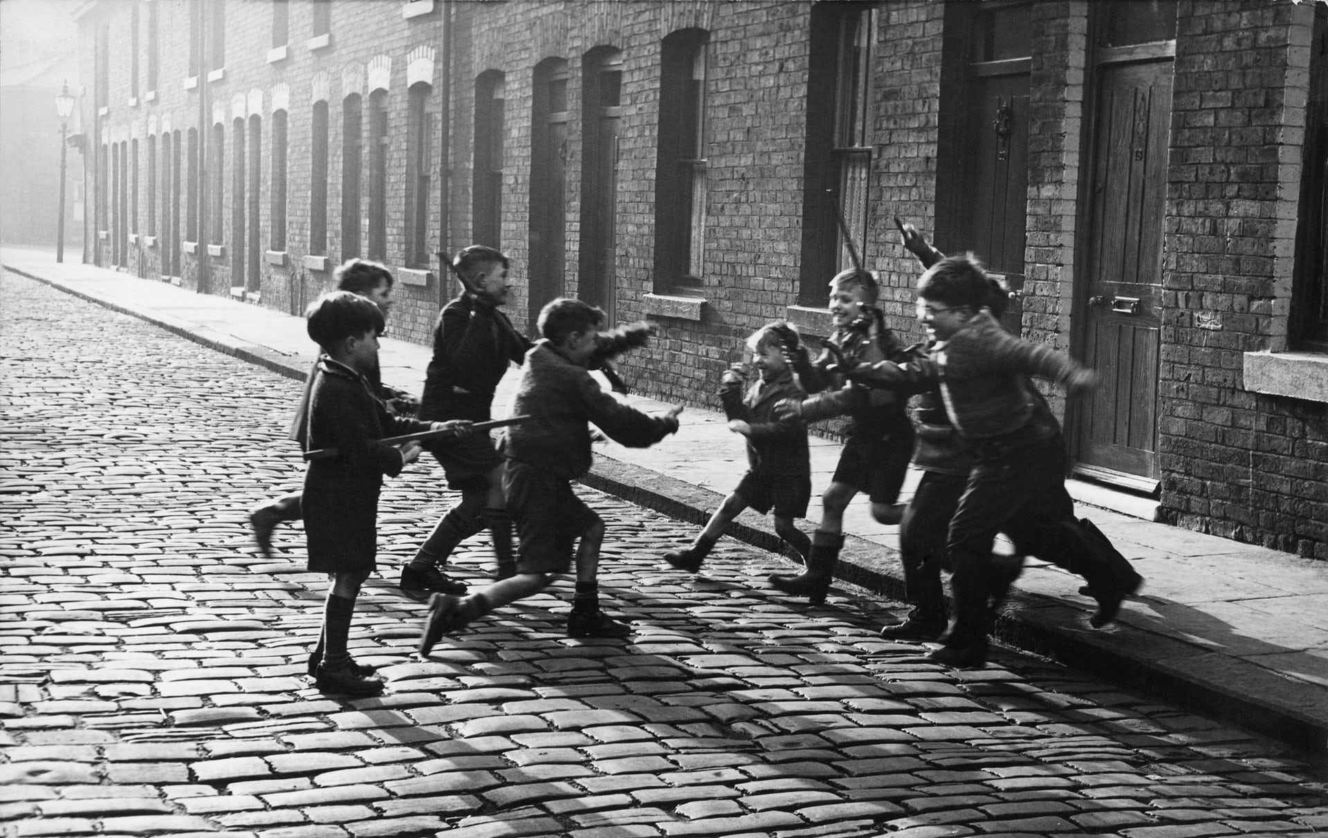 Children Playing Cowboys and Indians in Salford, 1957