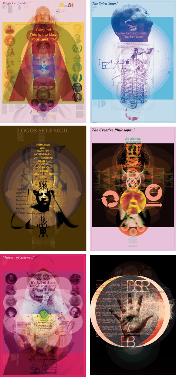Selection of poster prints Graham Wood made for Magick Is Freedom! (After Barney Bubbles)