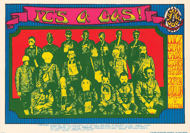 The Charlatans shared the bill with Quicksilver Messenger Service on numerous occasions. This poster from April 1968 is by Alton Kelley. Via ClassicPosters.com.