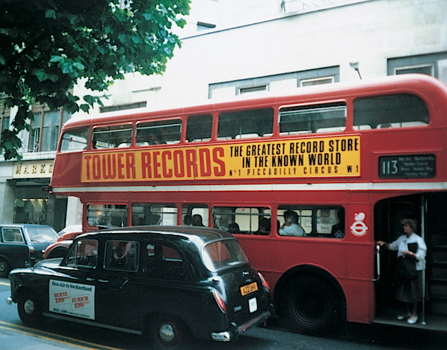 The flagship Tower Records in London at Piccadilly Circus opened in 1985. It closed in 2009. (Image courtesy Gravitas Ventures)