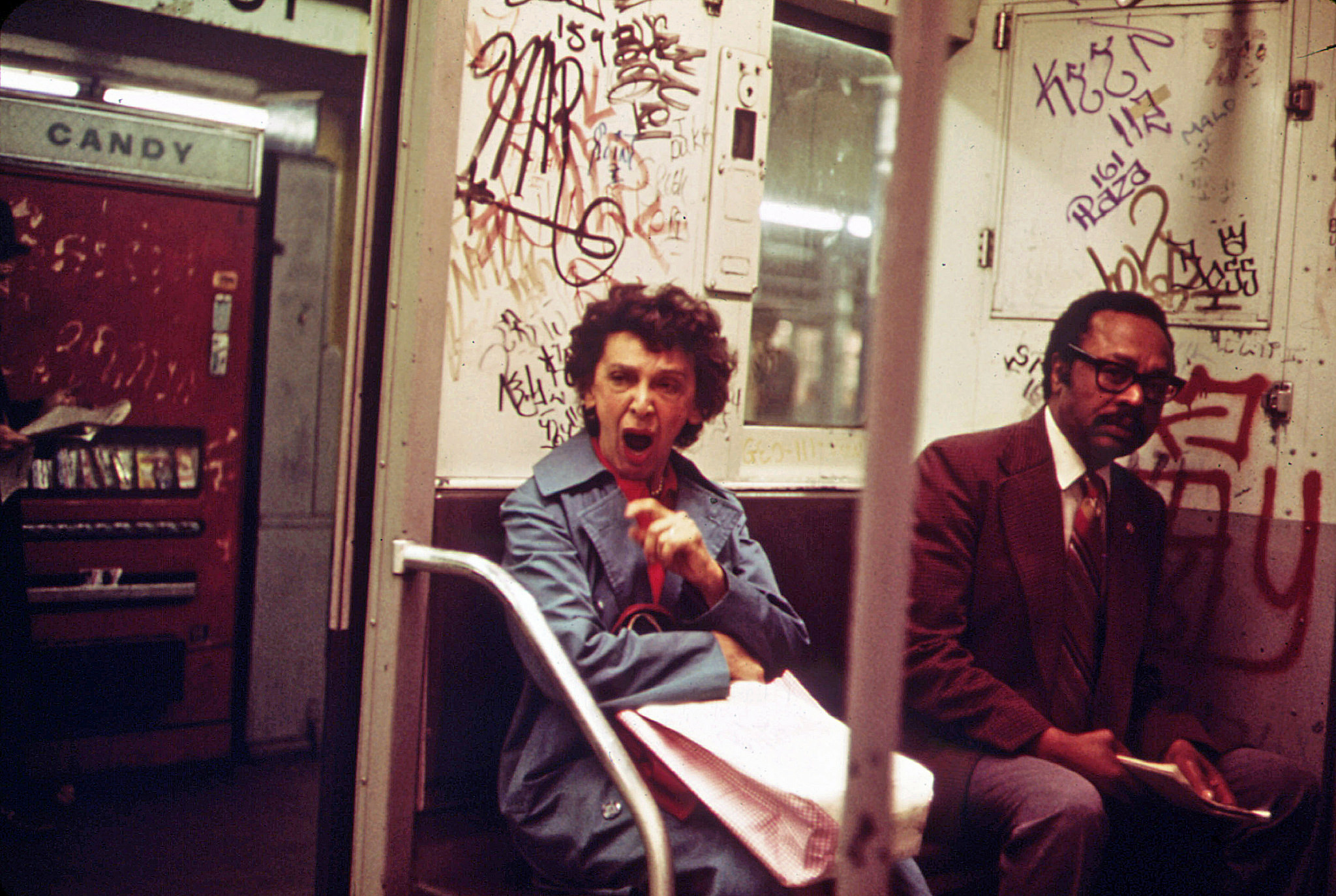 The usual graffiti adorns the interior. New York. May 1975