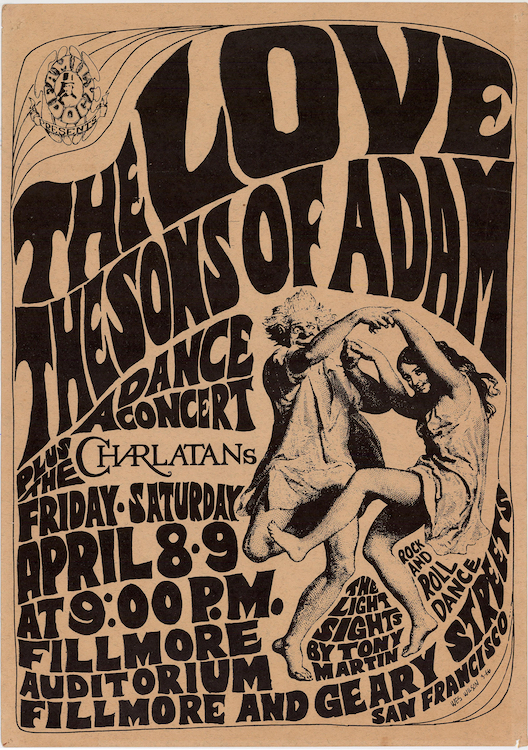 This early Wes Wilson poster from 1966 for a Family Dog show at the Fillmore includes Hunter's Charlatans logo. Via ClassicPosters.com.