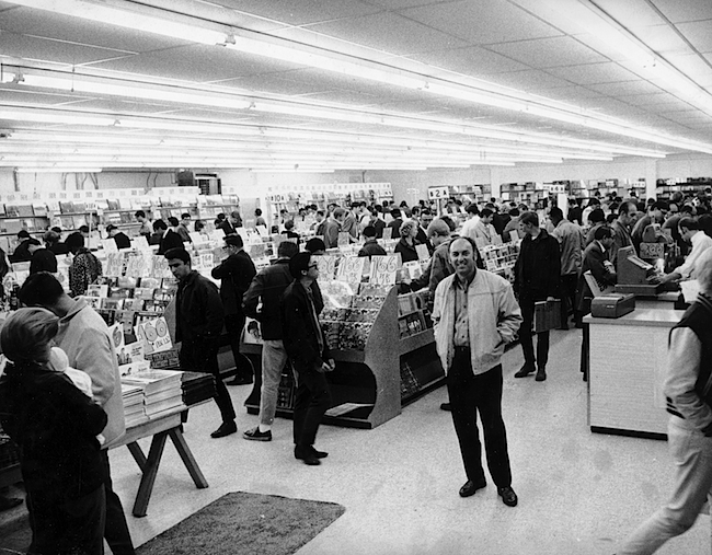 Tower owner Russ Solomon in his newly opened San Francisco store, 1968