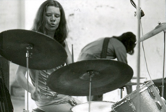 Janis Joplin playing Dave Getz's drum set