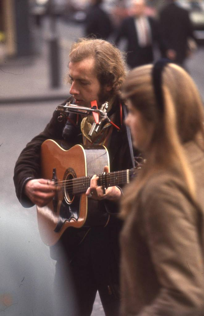 Street musician in London 1969