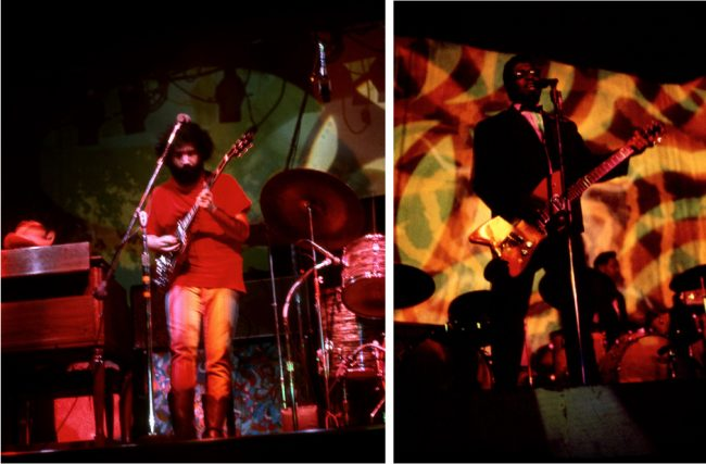 Although there were lots of places to see music in San Francisco in the late 1960s, the Fillmore and the Avalon were the two main dance halls. At left, Jerry Garcia performing at the Fillmore with the Grateful Dead in 1968. At right, Bo Diddley performing at the Avalon in 1967. Both photos by Steve Fitch.