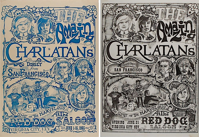 "The two versions of the poster created by Mike Ferguson and George Hunter for the Charlatans' 1965 shows at the Red Dog are both known as ""The Seed"" because the poster started the psychedelic-poster revolution that would flower the following year."