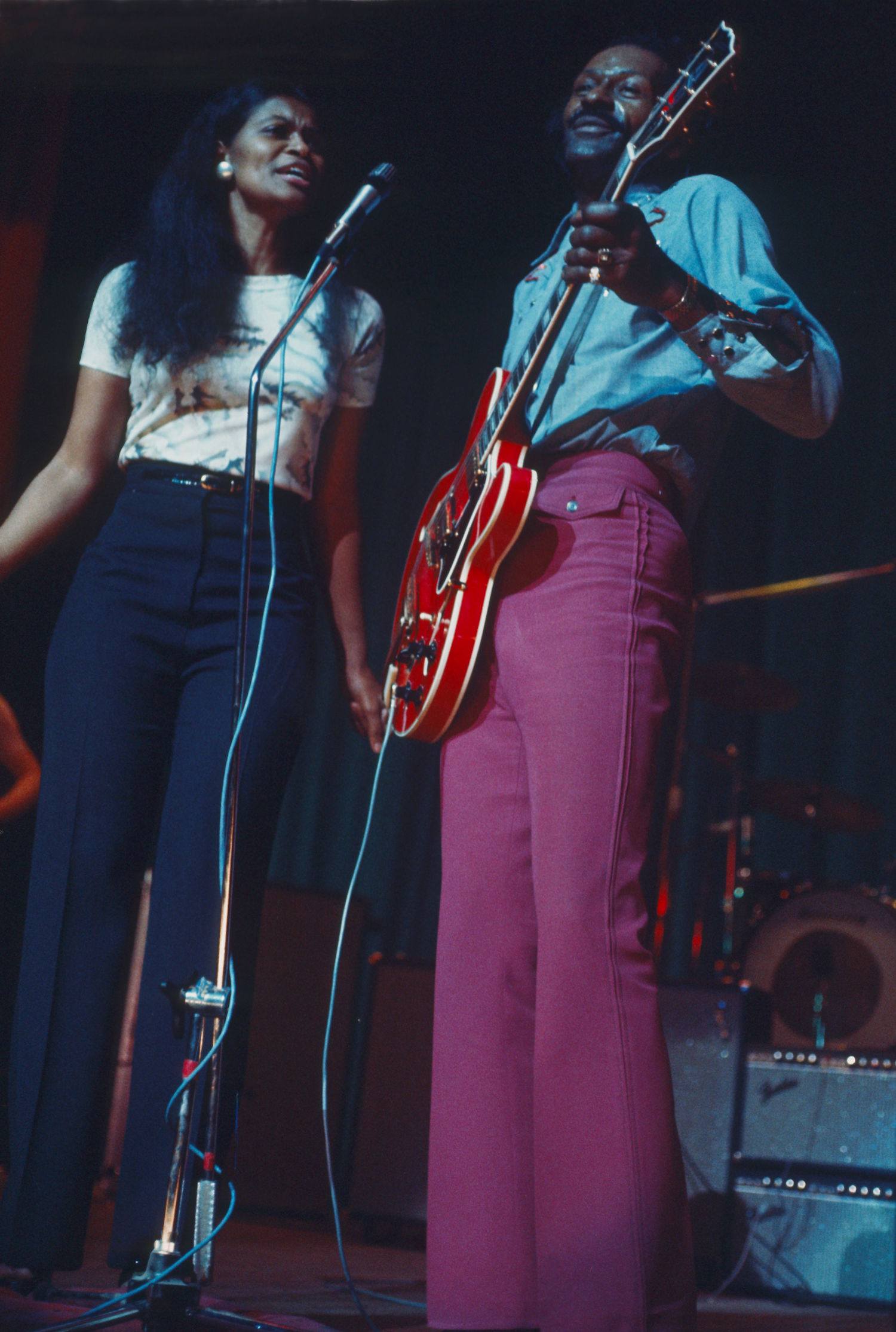 Chuck Berry in concert at Lewisham Odeon, London, Britain - Chuck Berry performing with daughter Ingrid Berry Clay - Feb, 1975