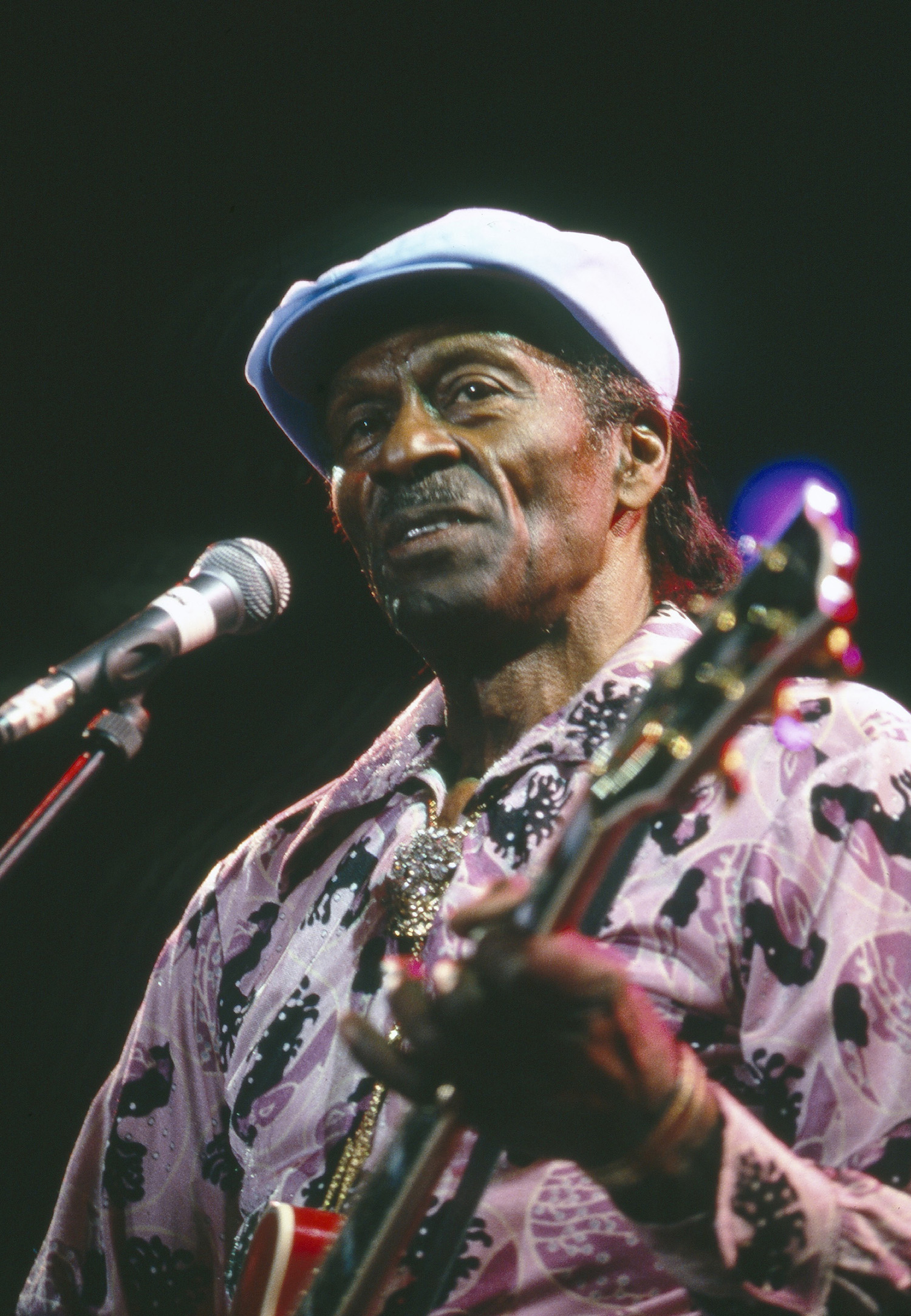 Chuck Berry in concert in London, Britain - 1988 - in his Letterman shirt