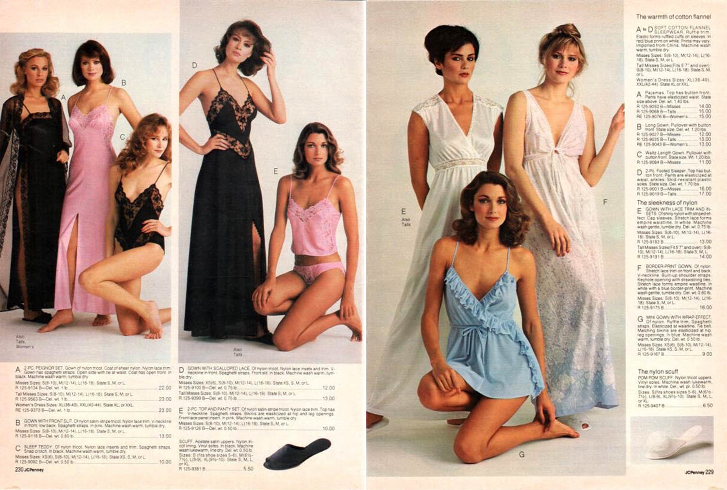 sleepwear catalog pages