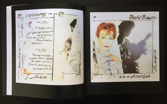 "After Bowie had been photographed by Duffy in his Pierrot costume, Bell asked him to strip away some clothing, muss his hair and smear his make-up. Then he took studies for the cover portrait. ""This was an image no longer, wistful, pretty, safe or fey, but a glimpse of glamour in its dangerous extremity; decadent and blatantly seductive,"" writes Bell, who said that Bowie stipulated that his hair colour be changed ""because in America I'm known as the red haired bisexual"""