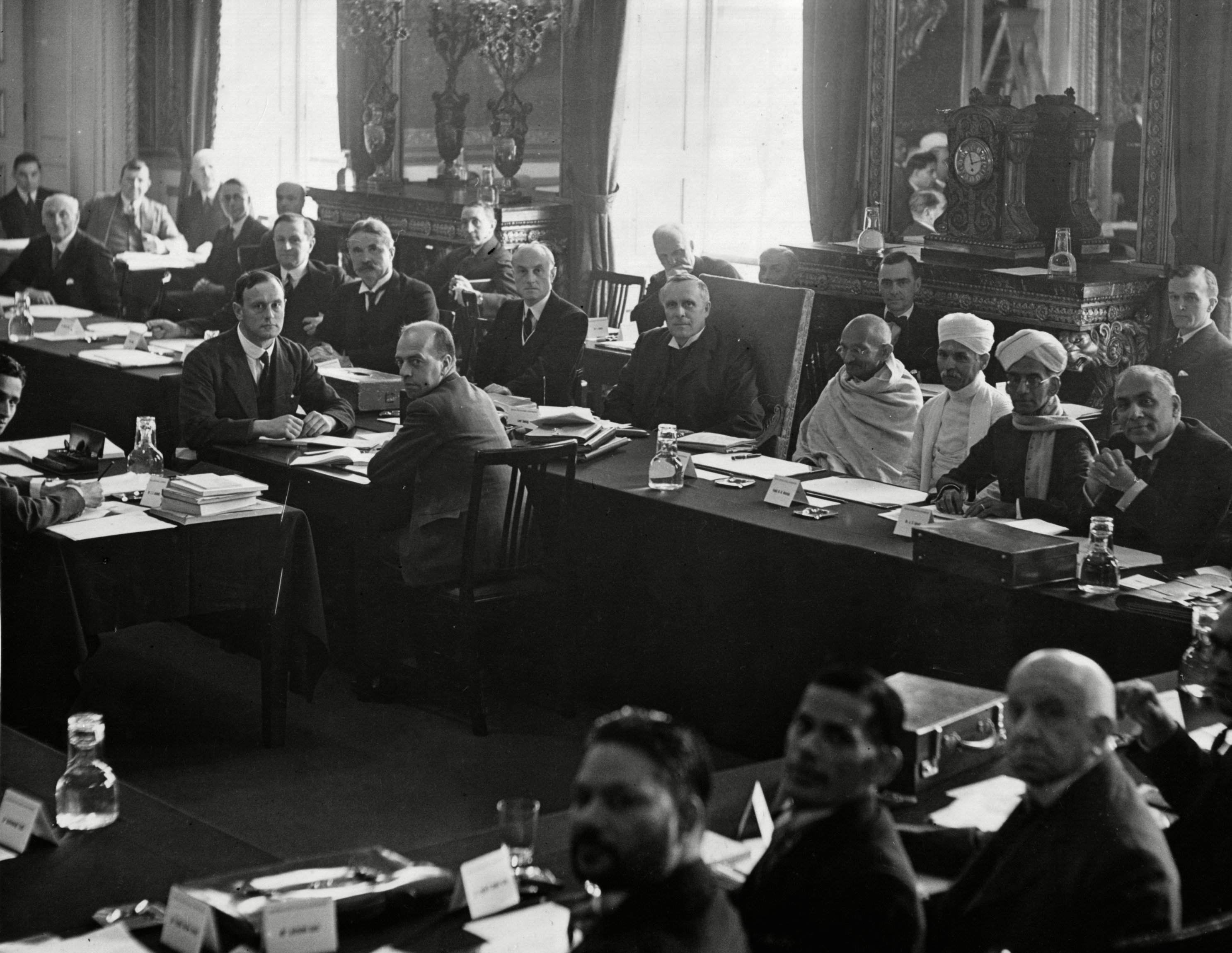 Federal Structure Committee of the India Round-Table Conference at the St. James Palace in London, England, . Lord Sankey is seen in the chair, with, on his left, Gandhi and Paudit Malaviya, will state the Congress case