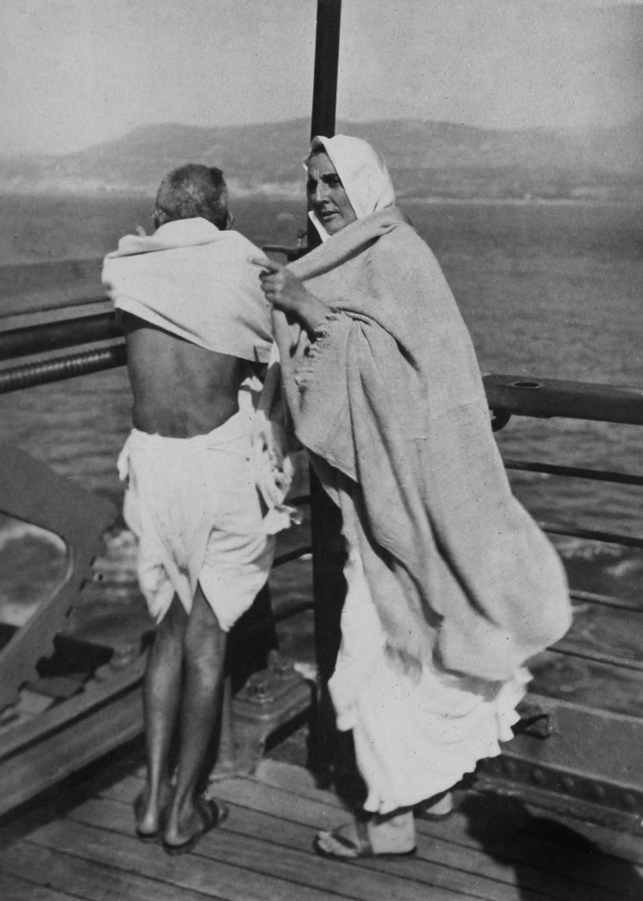 Mahatma Gandhi with Madeleine Slade (Mirabehn) aboard the S.S. Rajputana en route to the Second Round Table Conference on Dominion Status for India (September - December 1931) in London